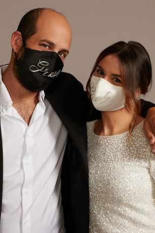 Embroidered Script Bride and Groom Face Mask Set