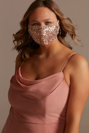 Sequined Tulle-Trim Mask with Adjustable Ear Loops