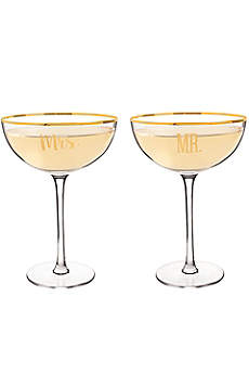 Mr and Mrs Coupe Champagne Flutes with Gift Box