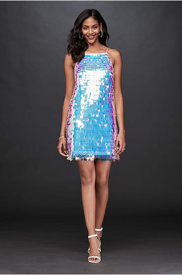 Iridescent Paillette High-Neck Mini Dress