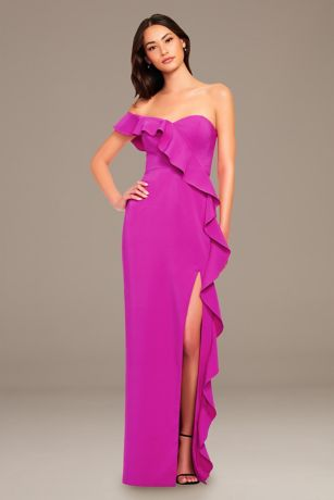 Long A-Line Off the Shoulder Dress - Aidan Mattox