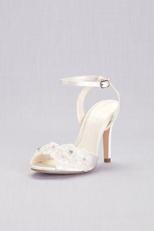 Pink Paradox Ivory (Floral Applique Satin Ankle-Strap Pumps)