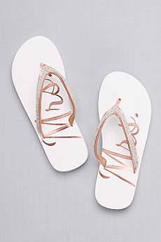 David's Bridal Pink Flip Flops (Glitter Mrs Flip Flops)