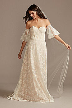 Corset Lace Wedding Dress with Removable Sleeves MS161231
