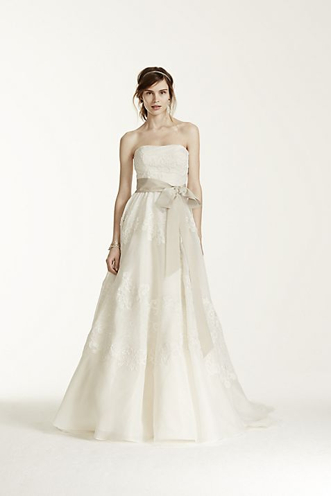 Melissa Sweet Satin Organza and Lace Wedding Dress | David\'s Bridal