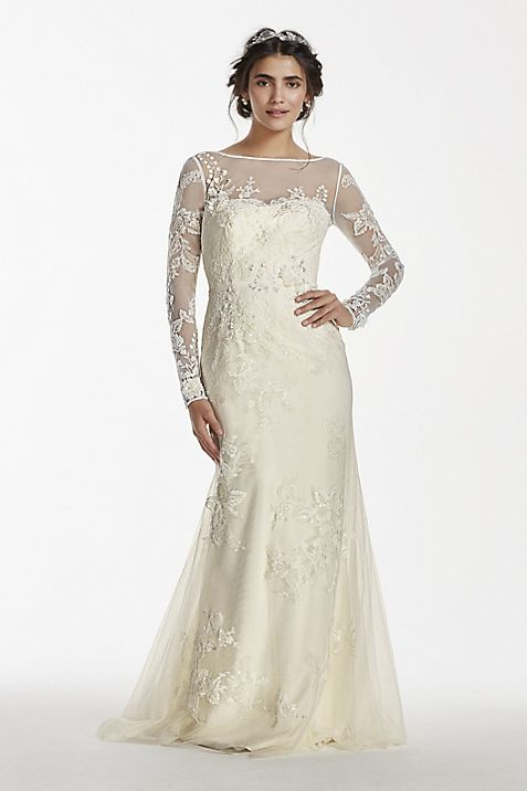 Melissa Sweet Long Sleeved Lace Wedding Dress | David\'s Bridal