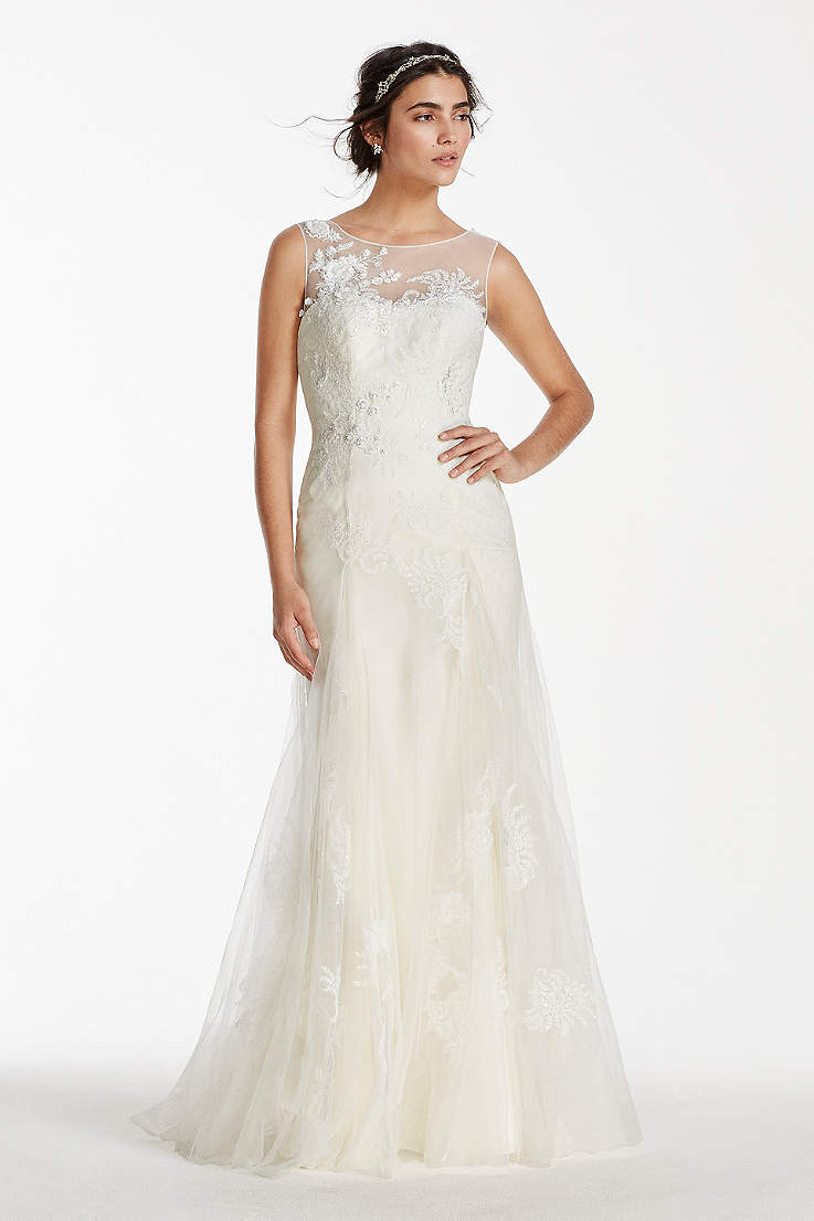 Illusion Neckline Wedding Dresses Davids Bridal