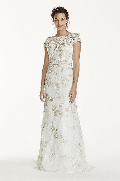 Melissa Sweet 3D Cap Sleeve Wedding Dress | David\'s Bridal