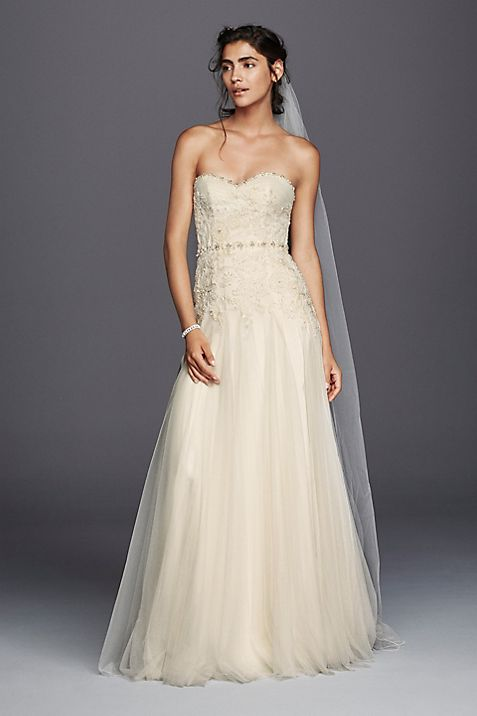 89b2e121adf Melissa Sweet Strapless Tulle Sheath Wedding Dress
