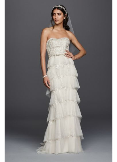 Melissa Sweet Wedding Dress with Tiered Skirt | David\'s Bridal