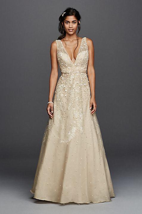 Melissa Sweet Wedding Dress with Plunging Neckline | David\'s Bridal