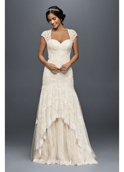 tiered lace mermaid wedding dress with beading david s bridal