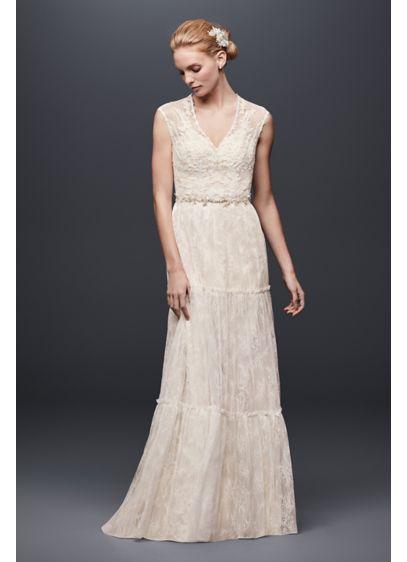 Chantilly Lace Cap-Sleeve Sheath Wedding Dress | David\'s Bridal