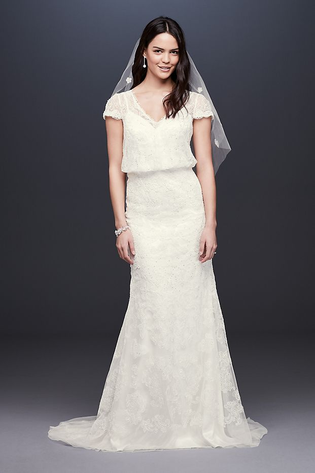 Beaded Blouson Two-Piece Sheath Wedding Dress