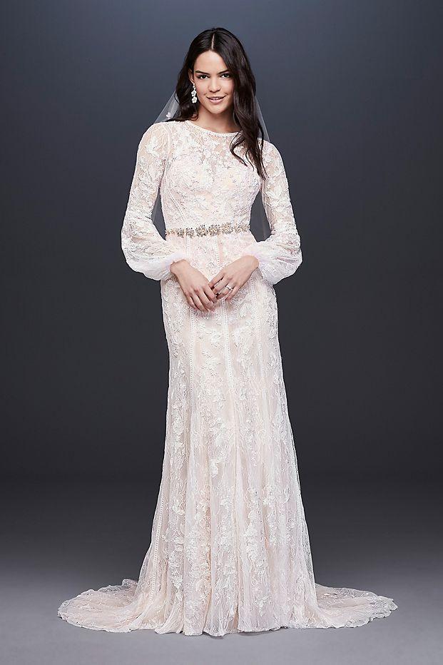 Bishop Sleeve Lace Sheath Wedding Dress