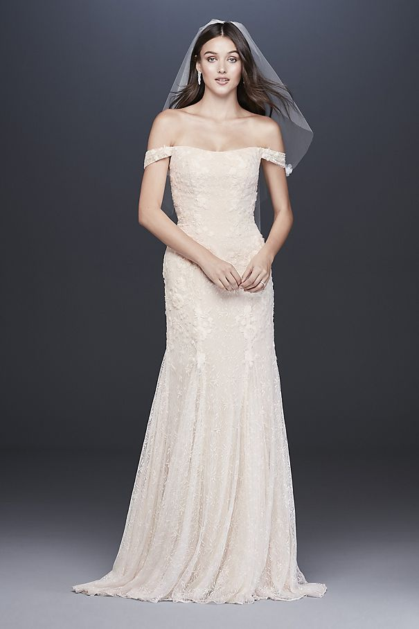 Swag Sleeve Layered Lace Trumpet Wedding Dress MS251196