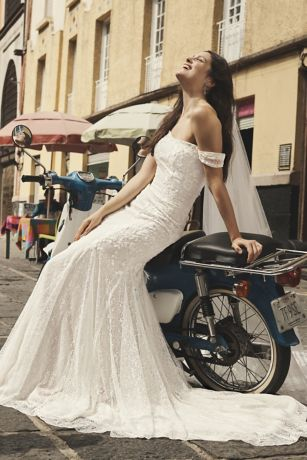 As-Is Swag Sleeve Lace Trumpet Wedding Dress