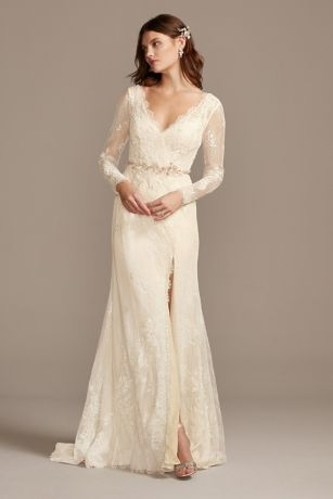 Illusion Long Sleeve Faux Surplice Wedding Dress