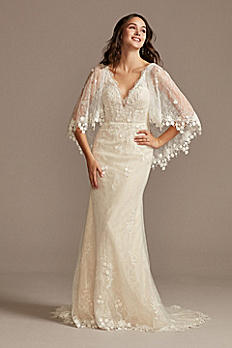 Lace Wedding Dress with Crochet Trim Capelet MS251224
