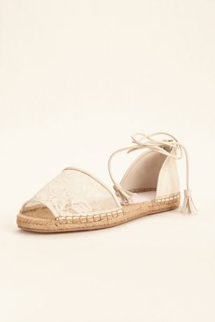 Melissa Sweet Ivory Flat Sandals (Lace Espadrille Shoe by Melissa Sweet)