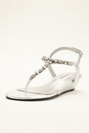 Dyeables Grey Heeled Sandals (Myra Low Wedge Thong Sandal)