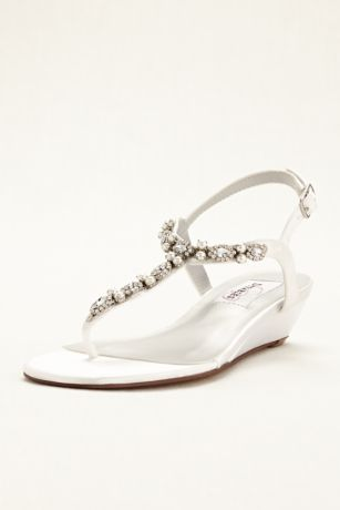 Dyeables Black;Blue;Grey;Ivory;Pink;Purple;Red;White Heeled Sandals (Myra Dyeable Low Wedge Thong Sandal)