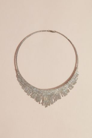 Pointed Crystal Fringe Collar Necklace