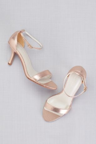 David's Bridal Grey;Pink;Yellow Heeled Sandals (Single Strap Sandal)