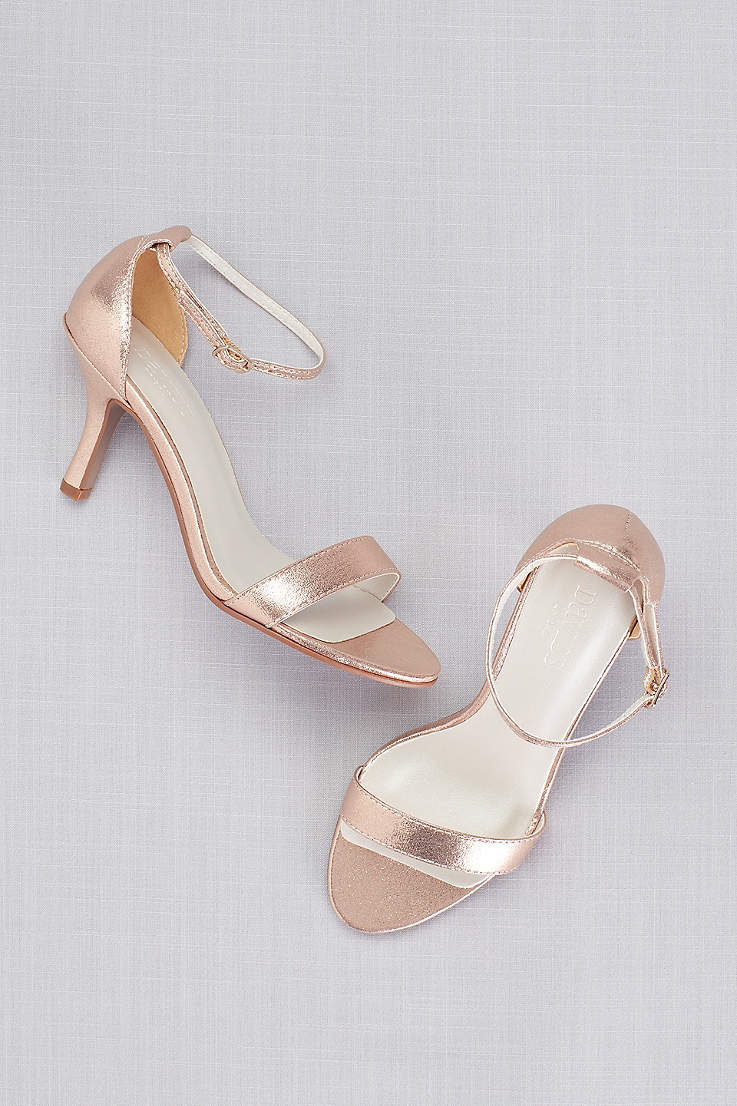 David s Bridal Grey Pink Yellow Heeled Sandals (Single Strap Sandal) 803e75cff