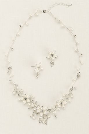 Crystal and Pearl Floral Necklace and Earring Set