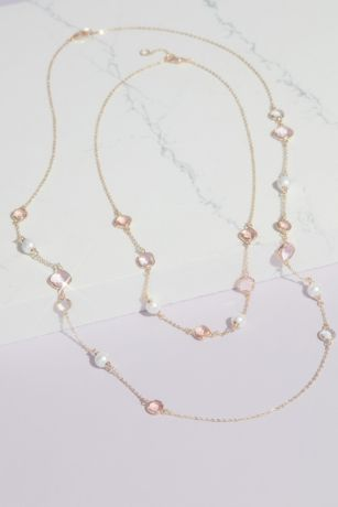 Crystal and Pearl Chain Necklace