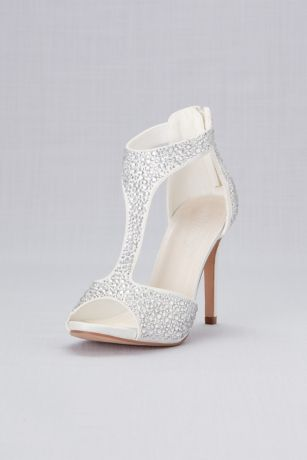 David's Bridal White Heeled Sandals (Crystal-Detailed Peep-Toe Shooties)
