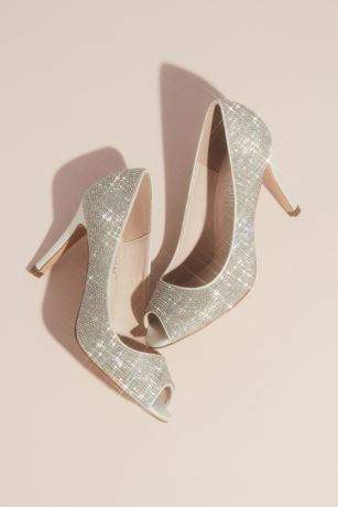 Blossom White Pumps (Allover Crystal Embellished Peep Toe Heels)