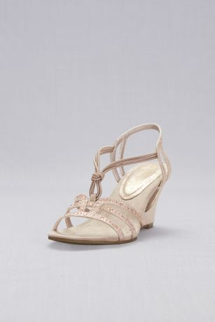 New York Transit Beige;Grey Sandals (Crystal-Studded Cutout Wedges with Knotted Vamp)