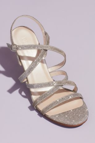David's Bridal Multi Heeled Sandals (Glitter Knit Strappy Heeled Sandals)