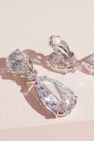 Cubic Zirconia Teardrop Dangle Clip-On Earrings