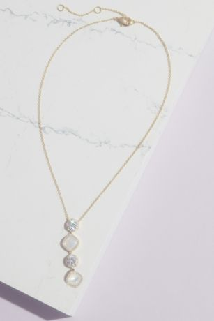 Haloed Crystal and Cabochon Y Necklace