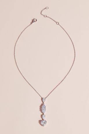 Heart Pear and Marquise Crystal Lariat Necklace