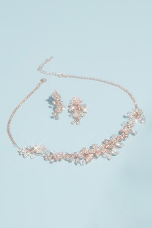 Handwired Crystal Floral Necklace and Earrings Set