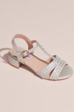Nanette Lepore Grey;Yellow (Girls Glitter Rhinestone T-Strap Sandals)