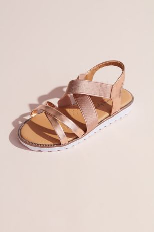 Josmo Grey;Pink Flat Sandals (Girls Metallic Crisscross Slingback Sandals)