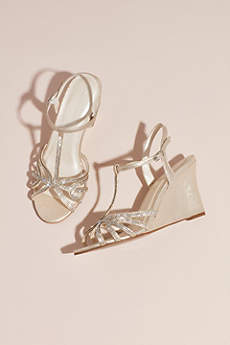 David's Bridal Ivory Wedge Shoes (Metallic Crystal T-Strap Wedges)