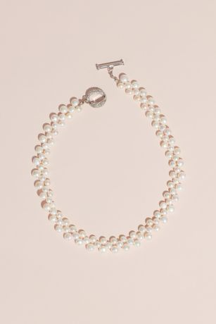 Cultured Pearl Necklace with Crystal Toggle