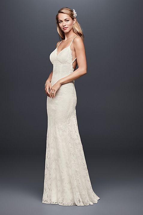 soft lace sheath wedding dress with low back david s bridal
