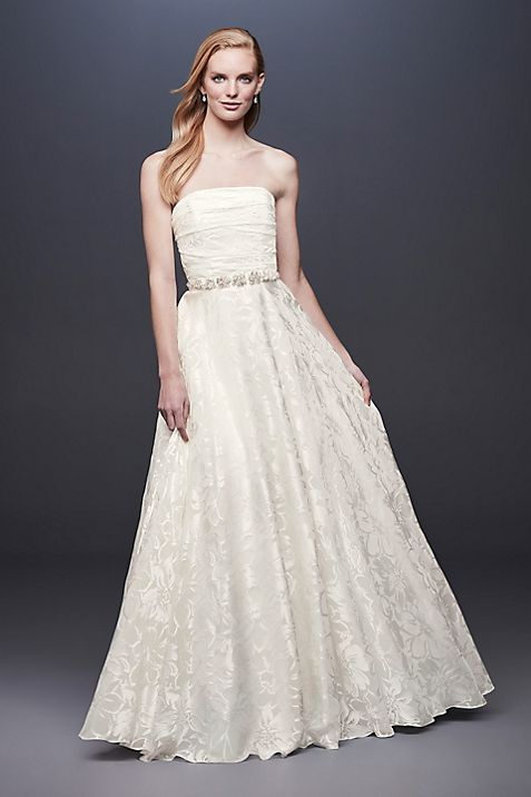 Floral Printed Organza A-line Wedding Dress | David\'s Bridal