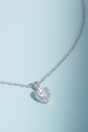 Crystal Heart Pendant Necklace with Pave Halo
