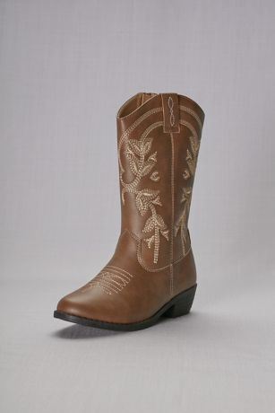 Kensie Girl Brown Flowergirl Shoes (Girls Embroidered Cowboy Boots)