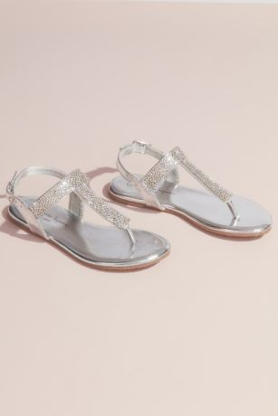 Nanette Lepore Grey;Yellow Flowergirl Shoes (Girls Rhinestone Metallic Thong Sandals)