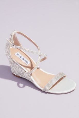 Steve Madden x DB Ivory Wedges (Crystal Crisscross Strap Wedge Sandals)