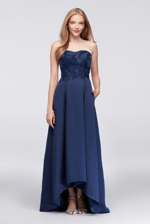 High Low Ballgown Strapless Dress - Oleg Cassini